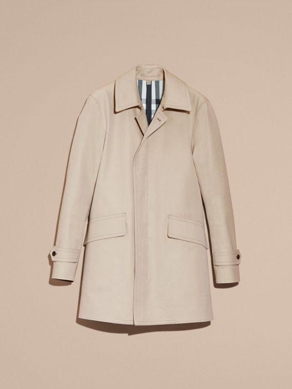 Showerproof Cotton Gabardine Car Coat in Stone - Men | Burberry - cell image 3