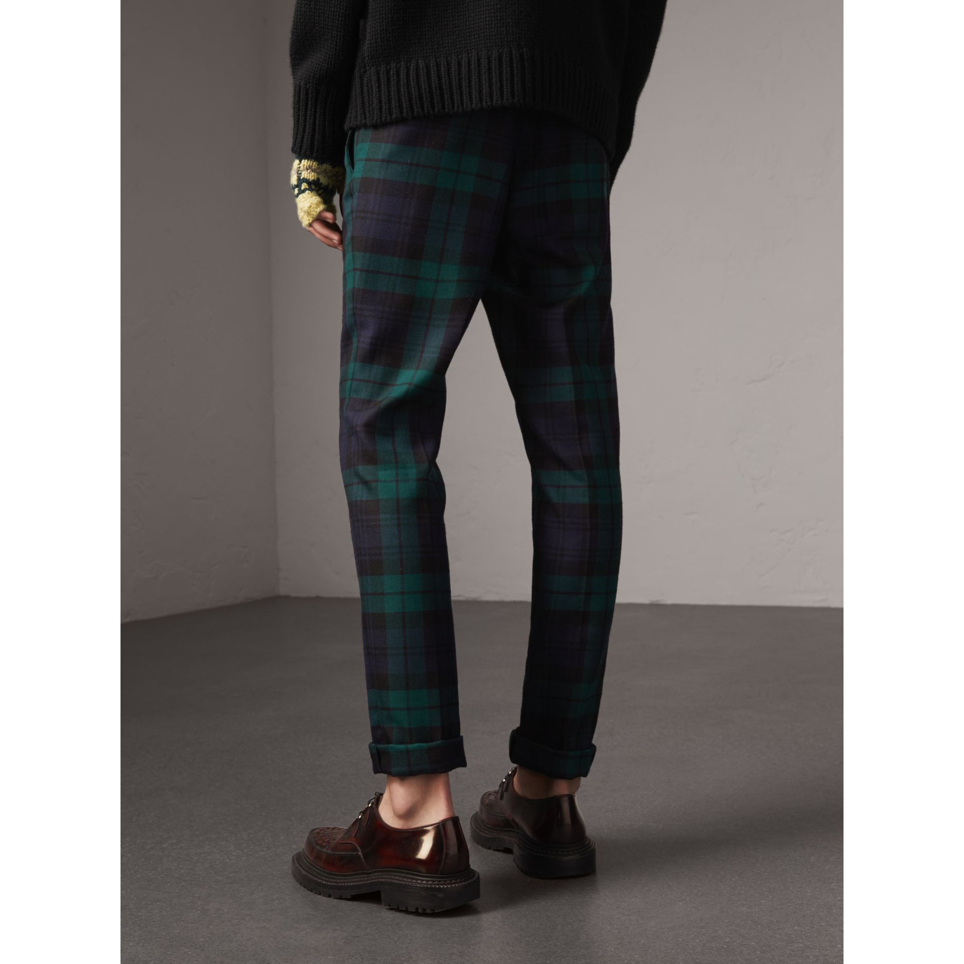 Tartan Wool Tailored Trousers in Navy - Men | Burberry Canada - gallery image 2