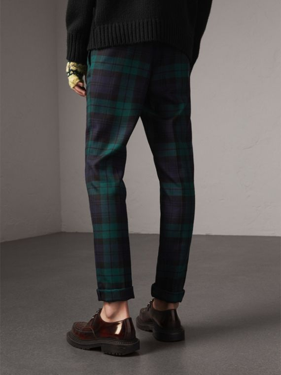 Tartan Wool Tailored Trousers in Navy - Men | Burberry United Kingdom - cell image 2