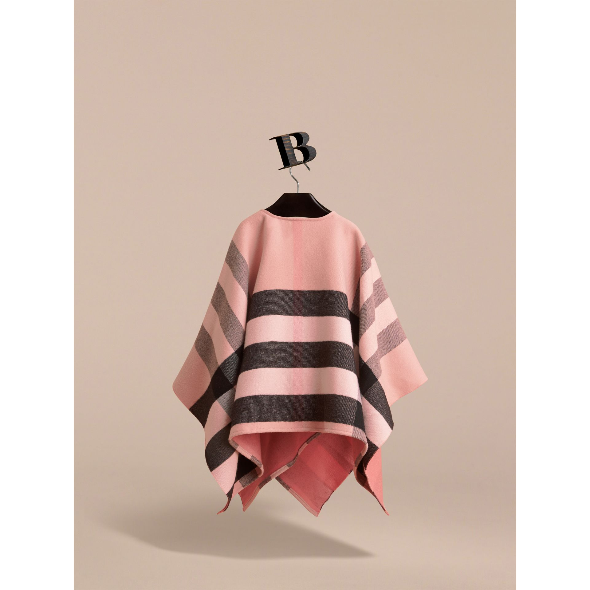 Check Wool Poncho in Ash Rose | Burberry - gallery image 3