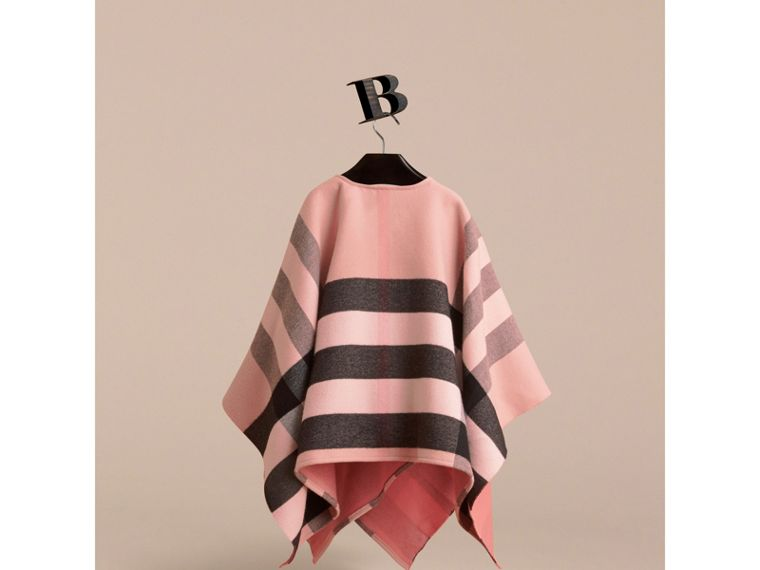 Check Wool Poncho in Ash Rose | Burberry - cell image 2
