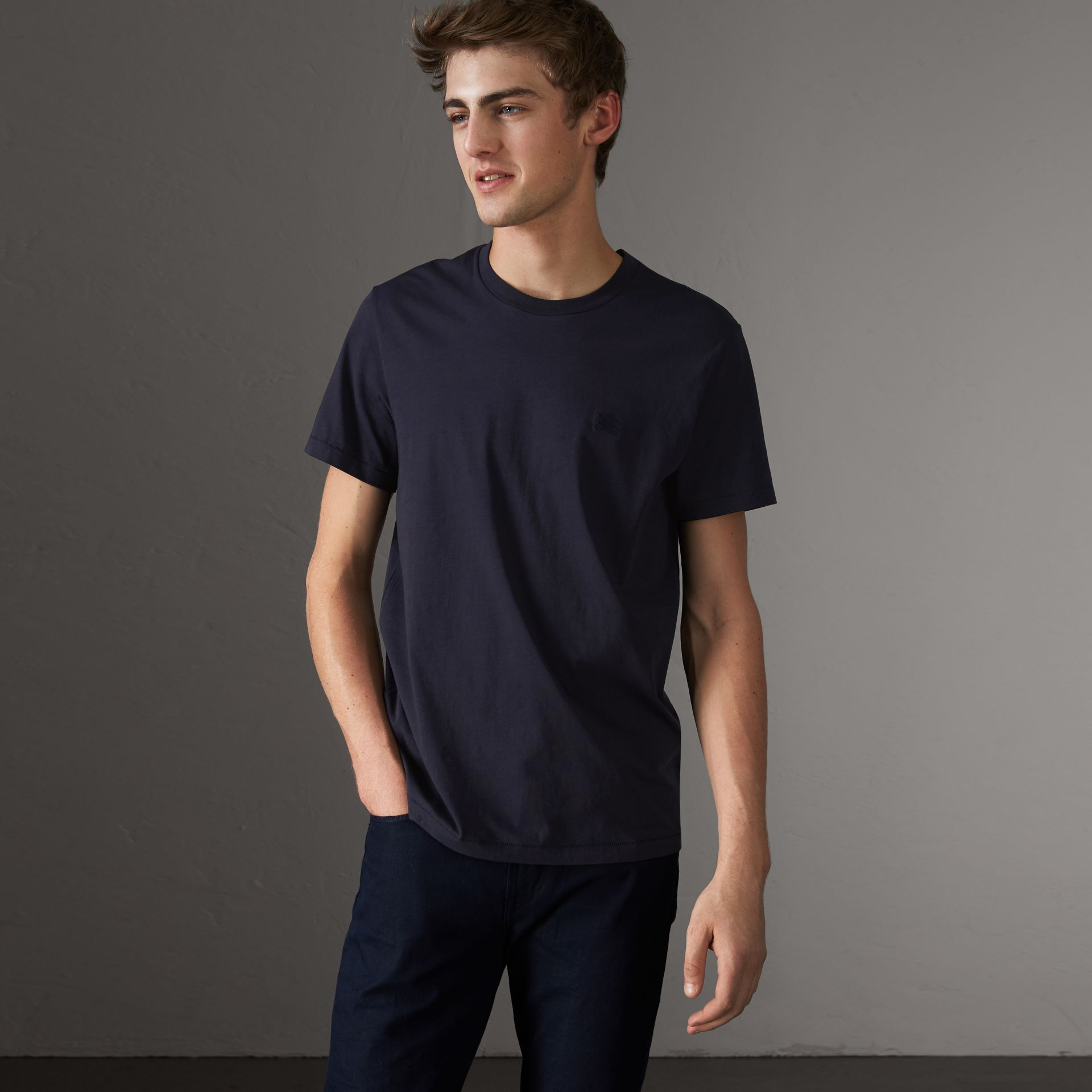 Cotton Jersey T-shirt in Navy - Men | Burberry United States - gallery image 0