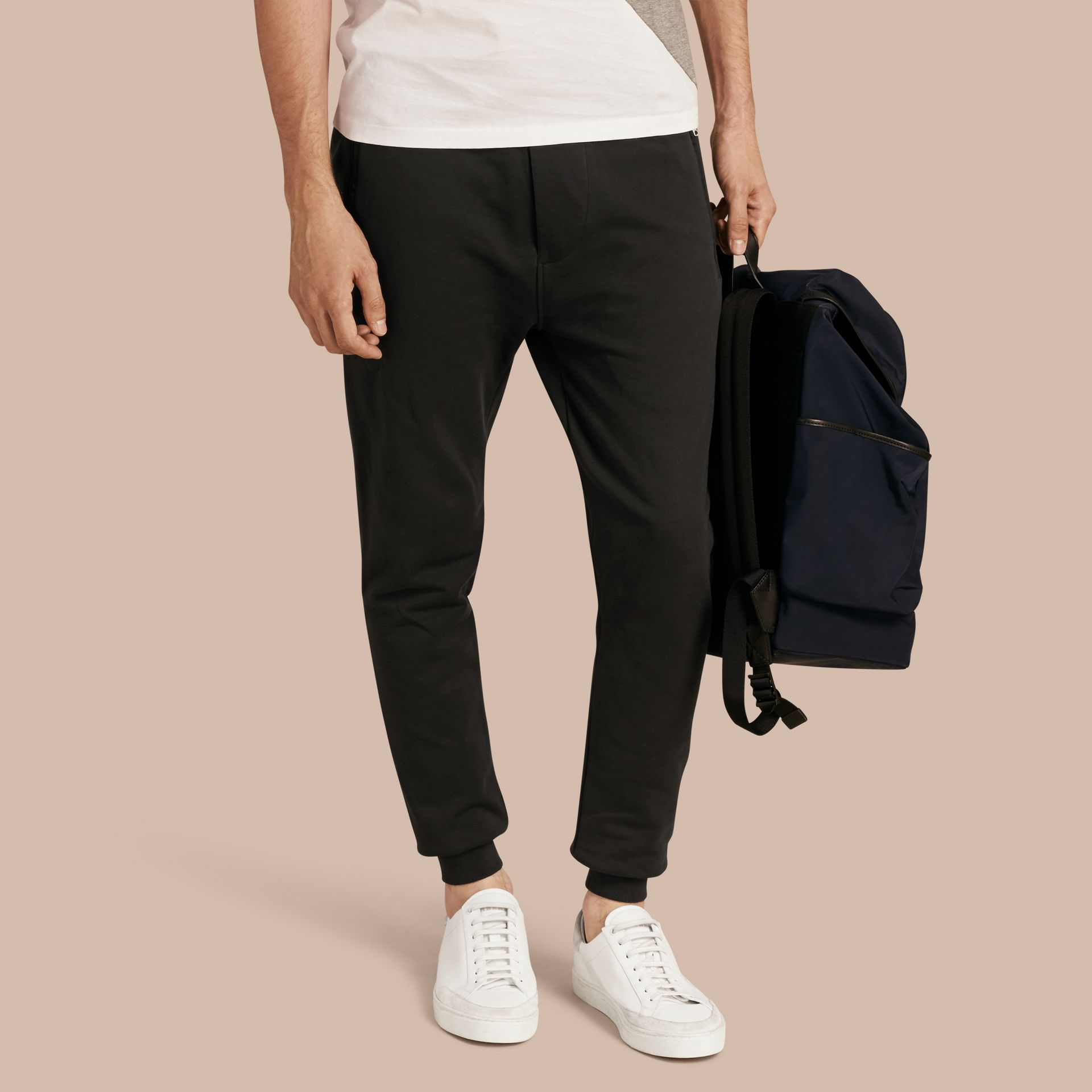 Cotton Sweatpants in Black - Men | Burberry - gallery image 1