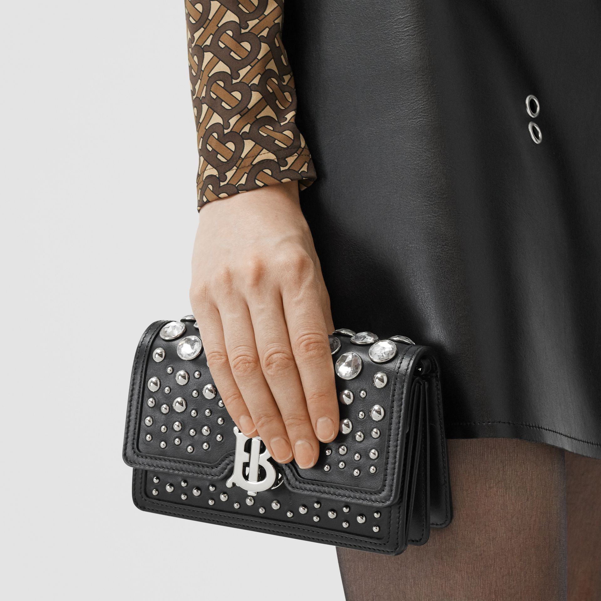 Mini Embellished Leather Shoulder Bag in Black - Women | Burberry - gallery image 8
