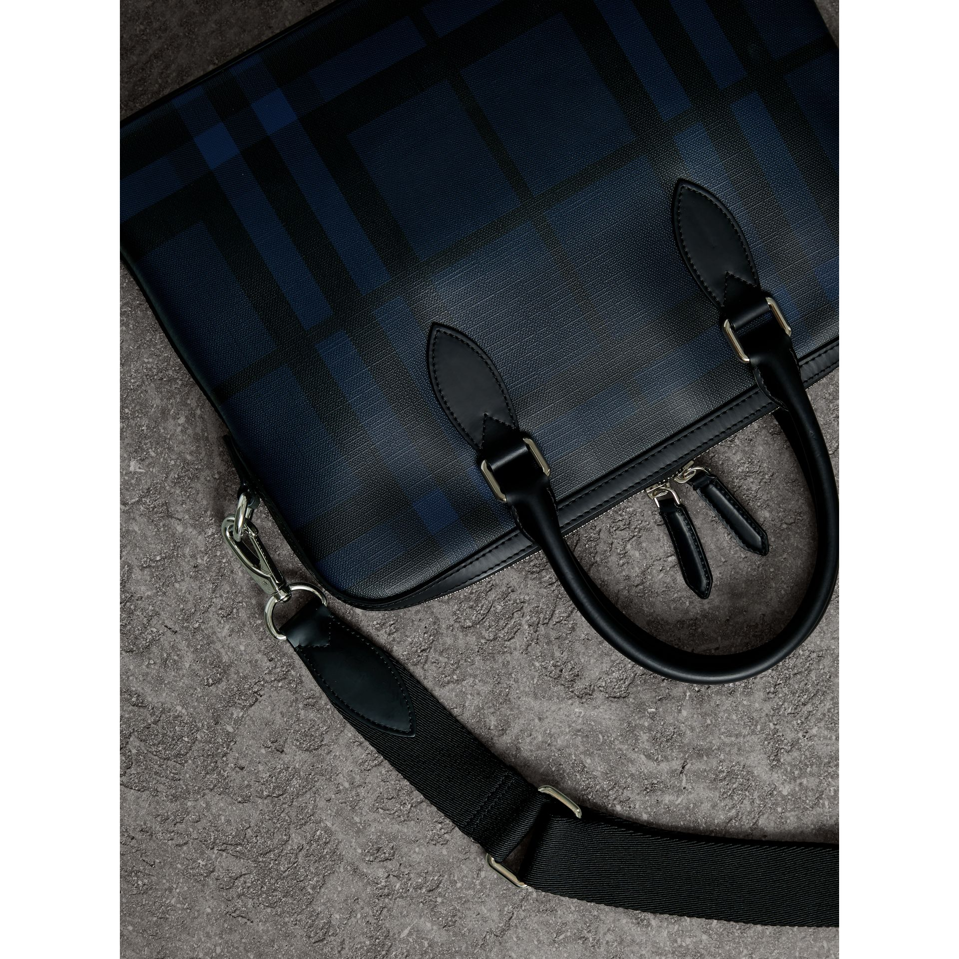 Medium Leather Trim London Check Briefcase in Navy/black - Men | Burberry Australia - gallery image 4