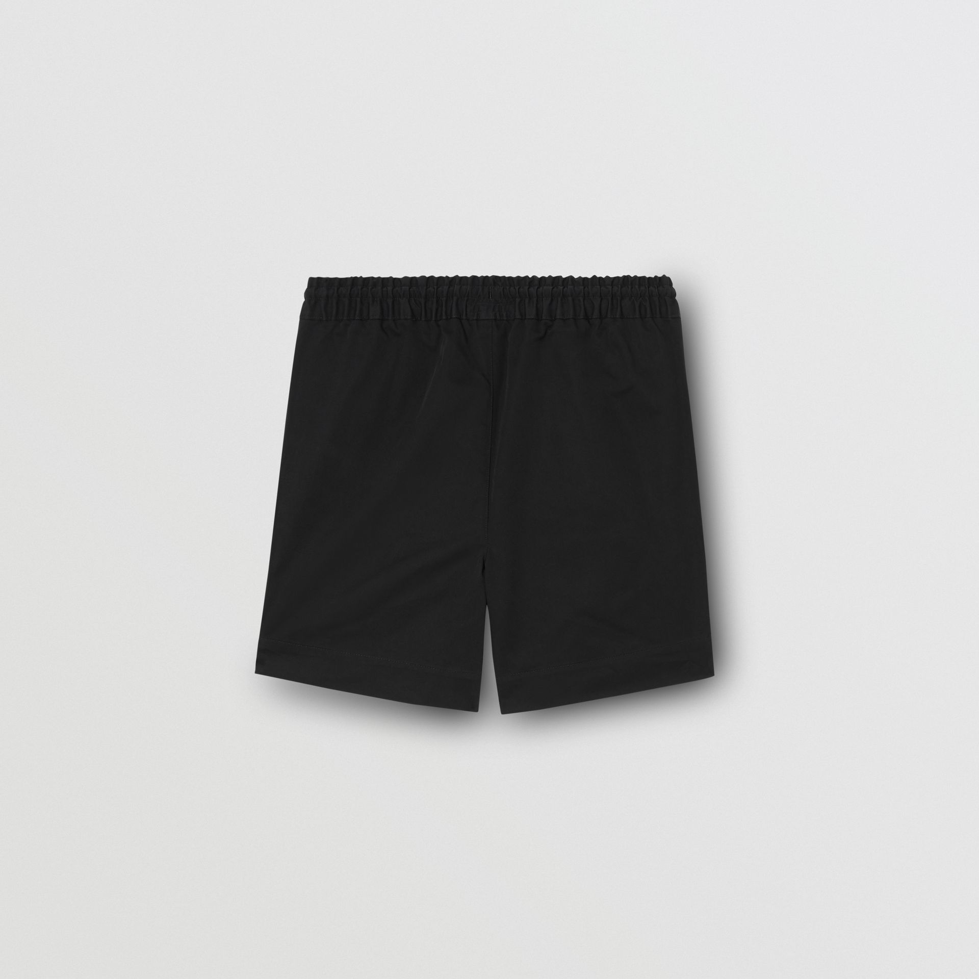 Embroidered Logo Cotton Drawcord Shorts in Black | Burberry - gallery image 3