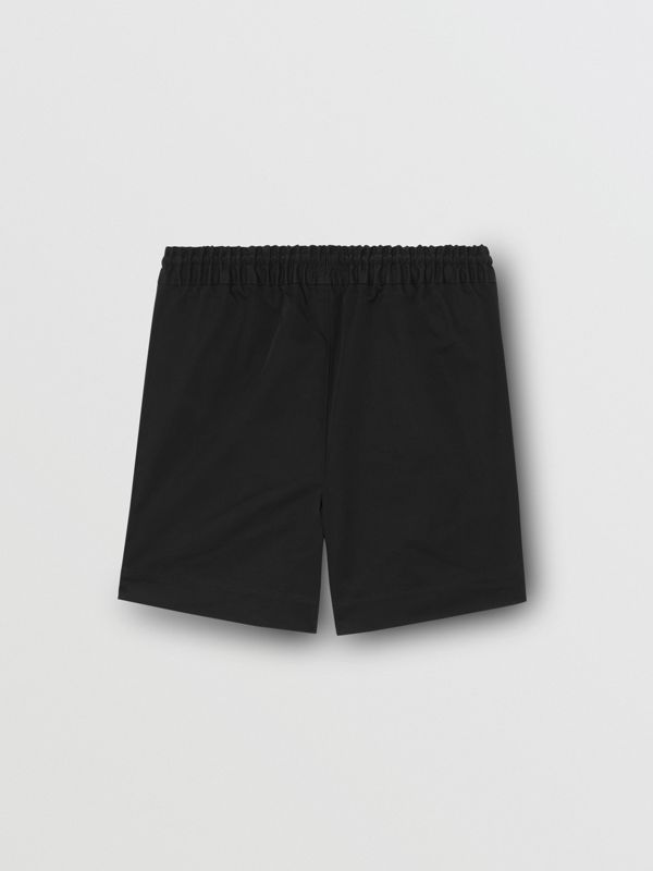 Embroidered Logo Cotton Drawcord Shorts in Black | Burberry - cell image 3