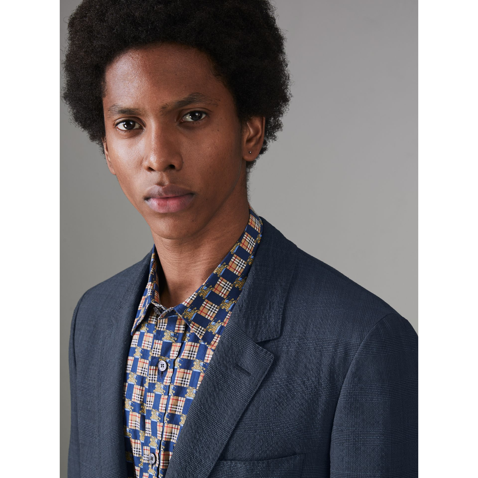 Windowpane Stretch Wool Tailored Jacket in Bright Navy - Men | Burberry Singapore - gallery image 1