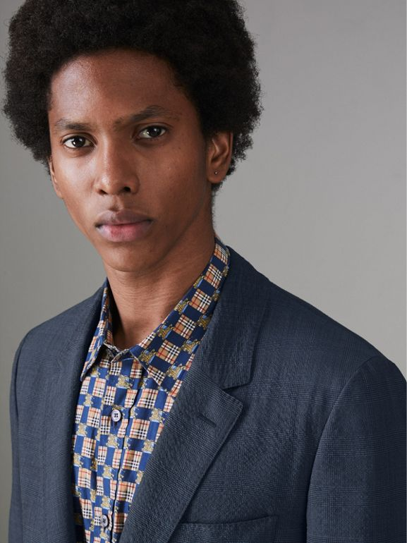 Windowpane Stretch Wool Tailored Jacket in Bright Navy - Men | Burberry - cell image 1