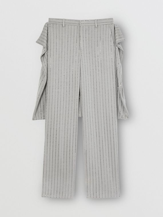 Skirt Detail Crystal Pinstriped Tailored Trousers in Light Pebble Grey