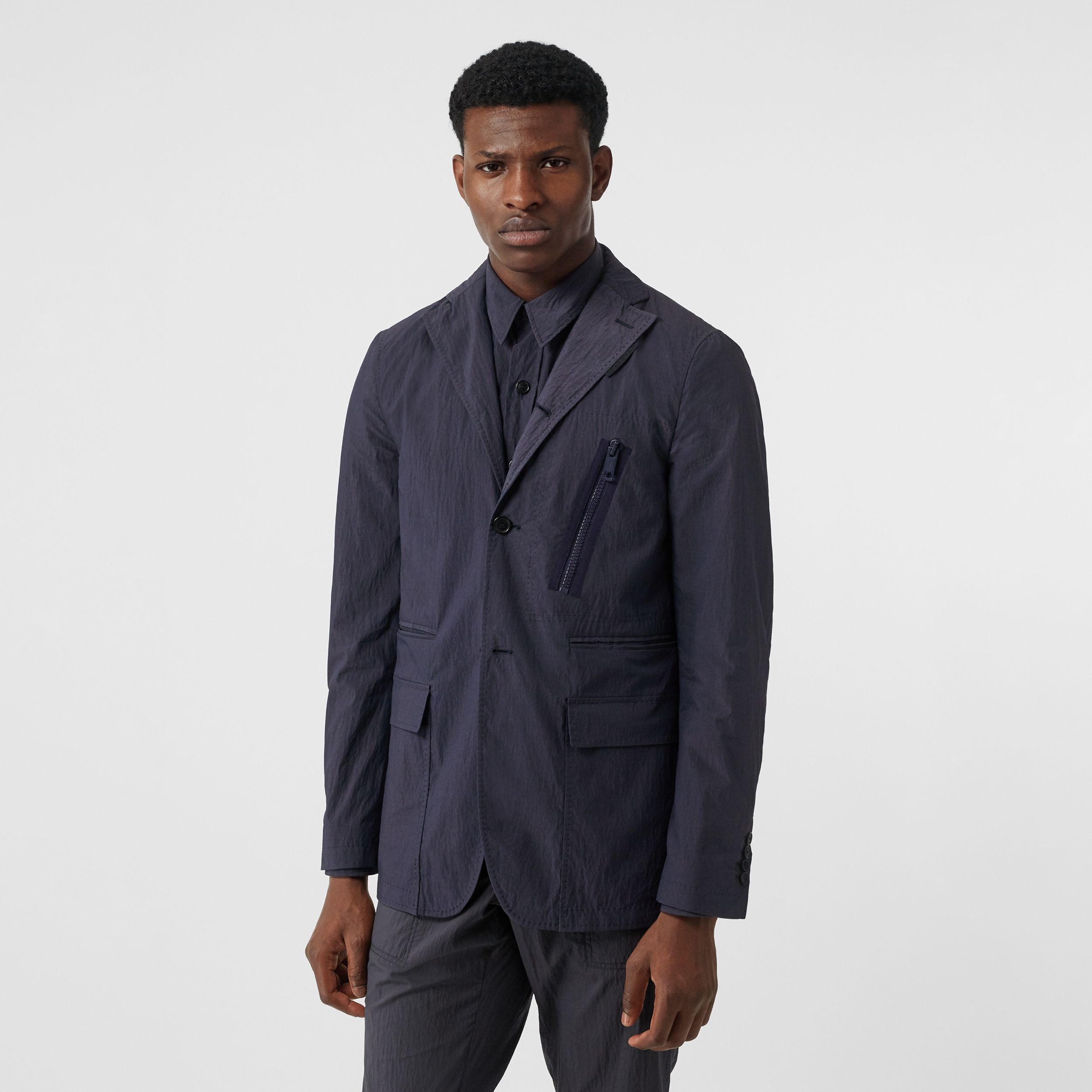 Crinkled Cotton Blend Tailored Jacket in Navy | Burberry - 1
