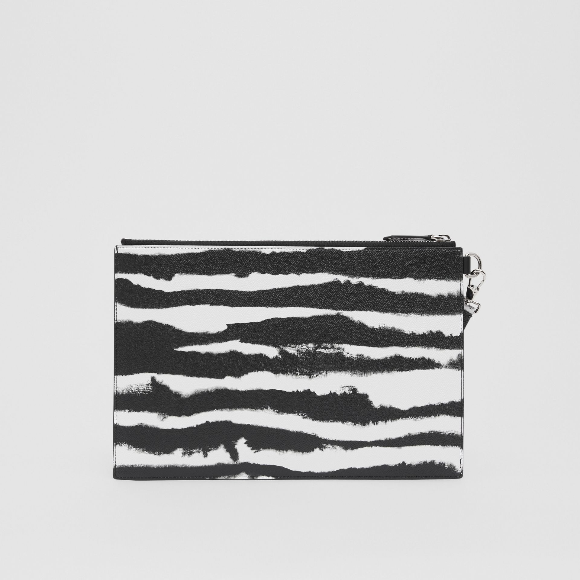 Watercolour Print Leather Zip Pouch in Black/white | Burberry - gallery image 8