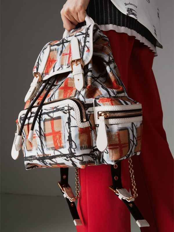 The Medium Rucksack in Scribble Vintage Check in Chalk White - Women | Burberry - cell image 3