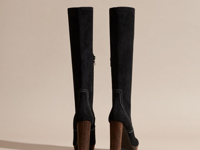 Black Topstitch Detail Knee-high Suede Platform Boots - cell image 4