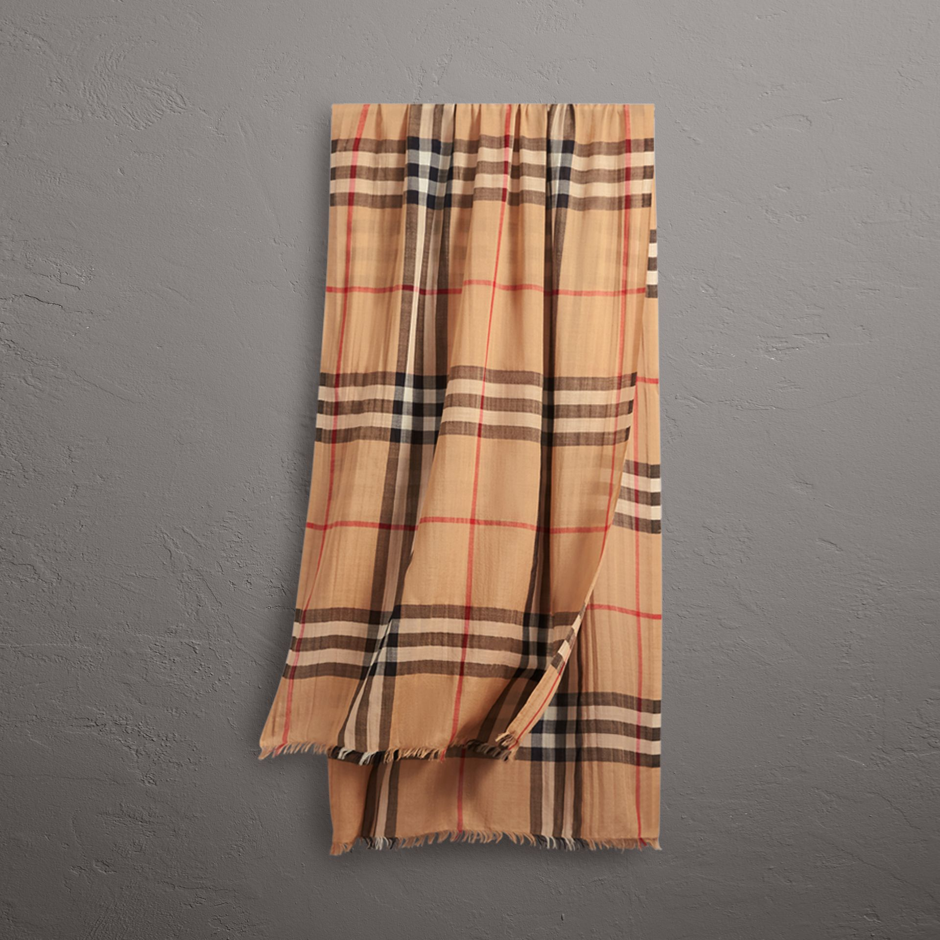 Lightweight Check Wool and Silk Scarf in Camel | Burberry United Kingdom - gallery image 0