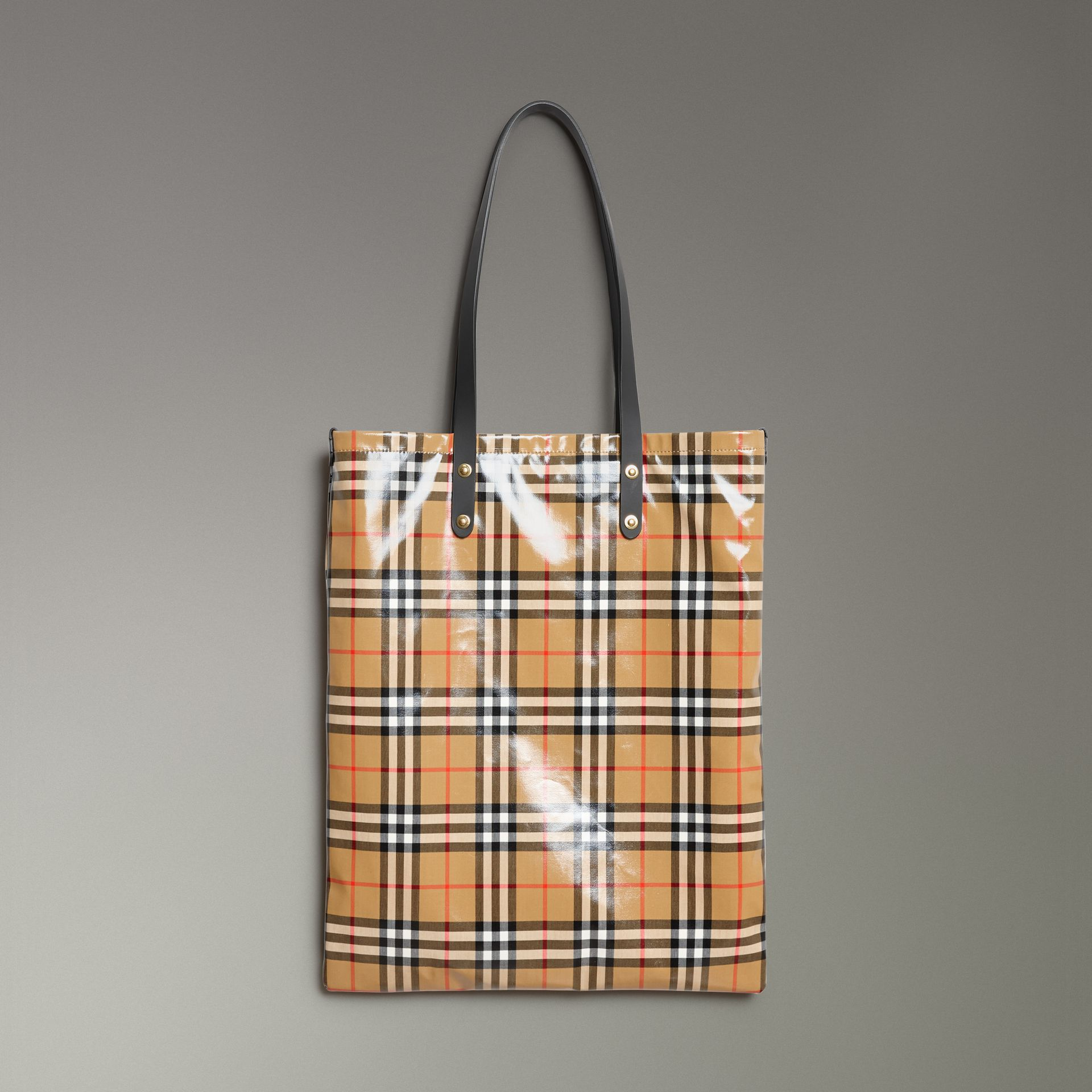 Large Coated Vintage Check Shopper in Black | Burberry - gallery image 0