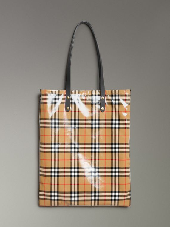 Shopper grande in cotone rivestito con motivo Vintage check (Nero)