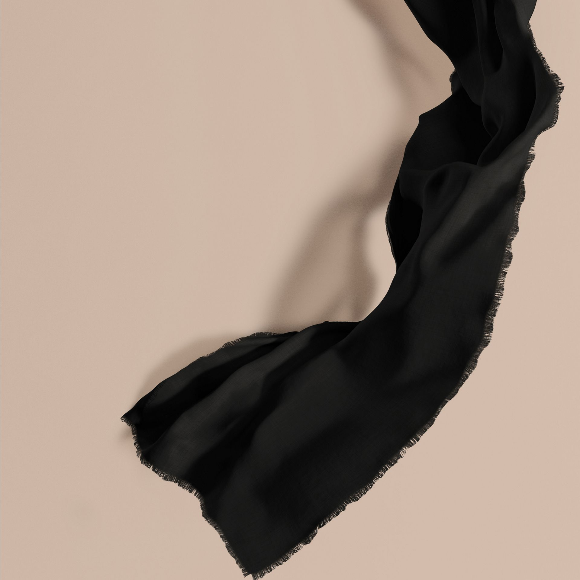 The Lightweight Cashmere Scarf in Black | Burberry Canada - gallery image 1