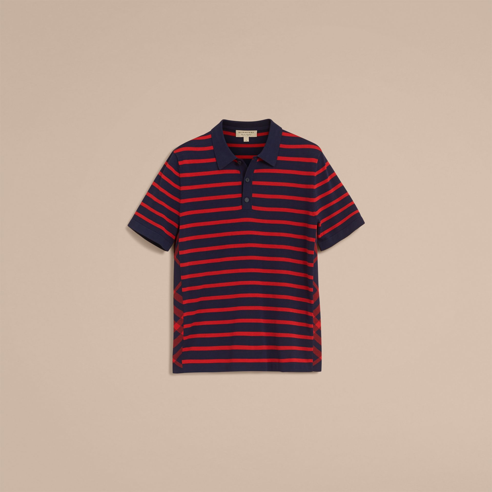 Breton Stripe Cotton Polo Shirt Navy - gallery image 4