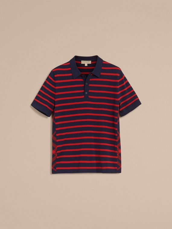 Breton Stripe Cotton Polo Shirt in Navy - Men | Burberry - cell image 3