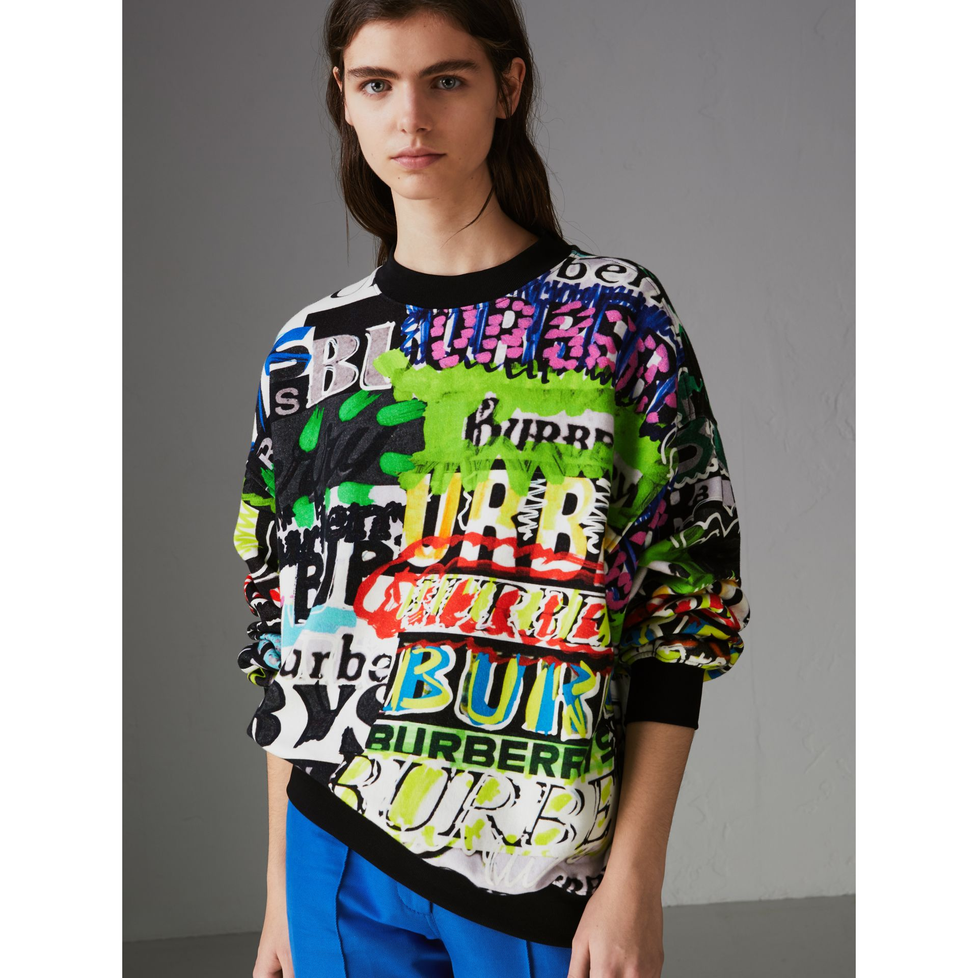 Graffiti Logo Cotton Jersey Sweatshirt in Multicolour - Women | Burberry Hong Kong - gallery image 4