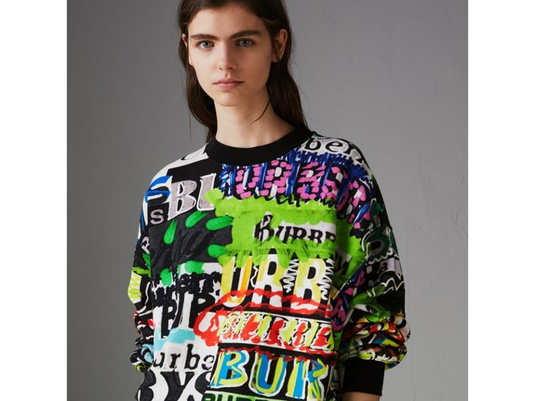 Graffiti Logo Cotton Jersey Sweatshirt in Multicolour - Women | Burberry - cell image 4