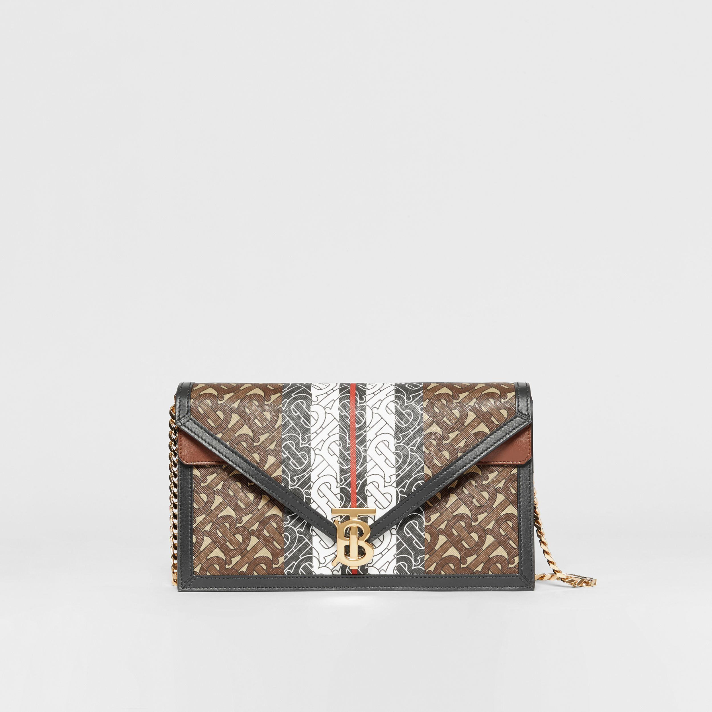 Small Monogram Stripe E-canvas TB Envelope Clutch in Bridle Brown - Women | Burberry - 1
