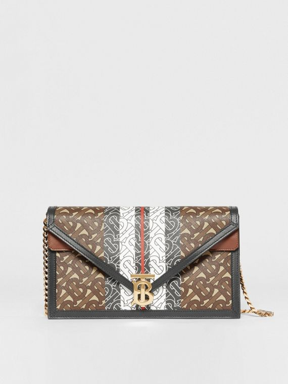 Small Monogram Stripe E-canvas TB Envelope Clutch in Bridle Brown