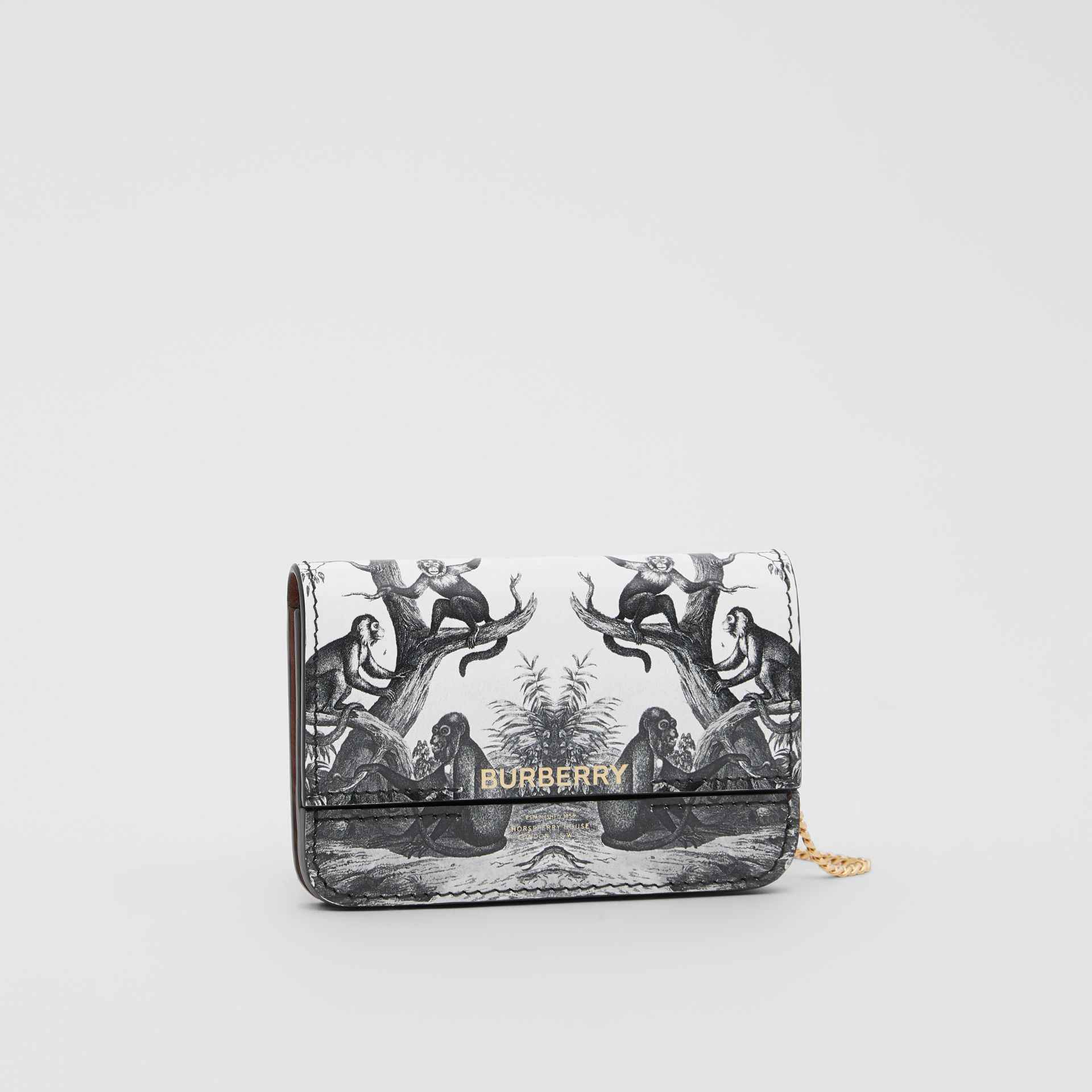 Monkey Print Leather Card Case with Chain Strap in Black/white | Burberry Australia - gallery image 8