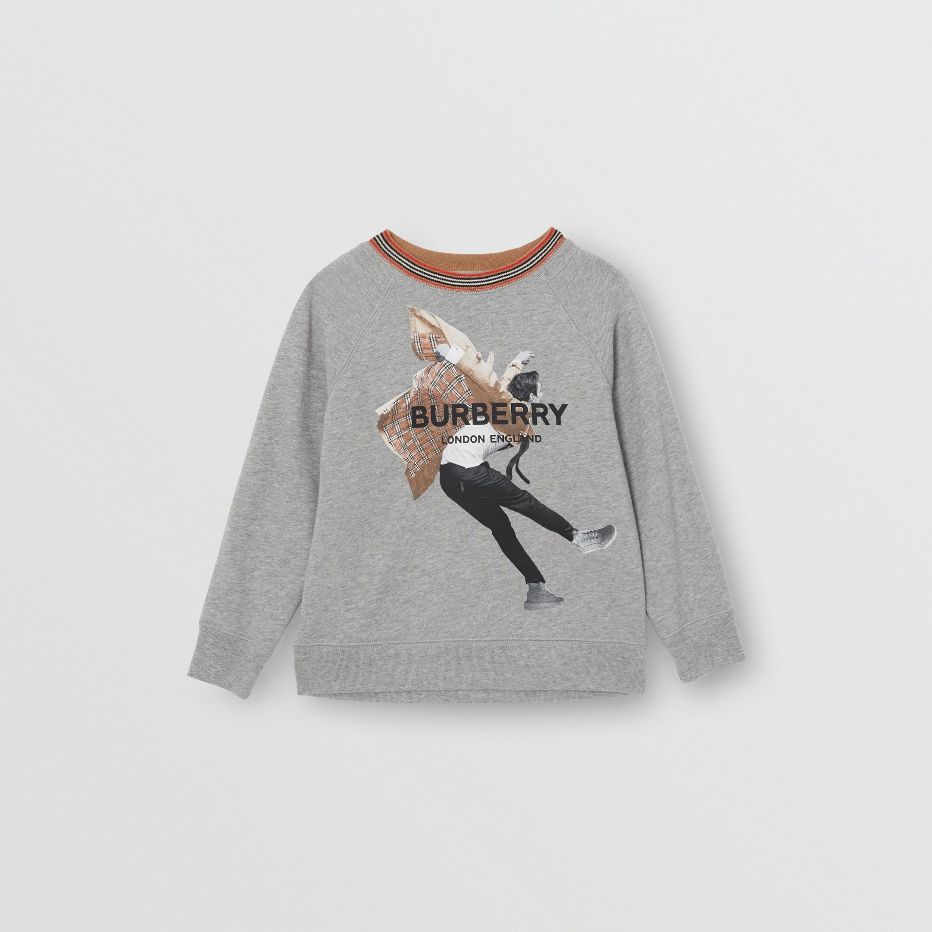 Jump Print Cotton Sweatshirt in Grey Melange | Burberry - gallery image 0