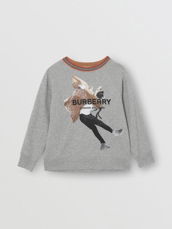 Sweatshirt aus Baumwolle mit Aufdruck (Grau Meliert)