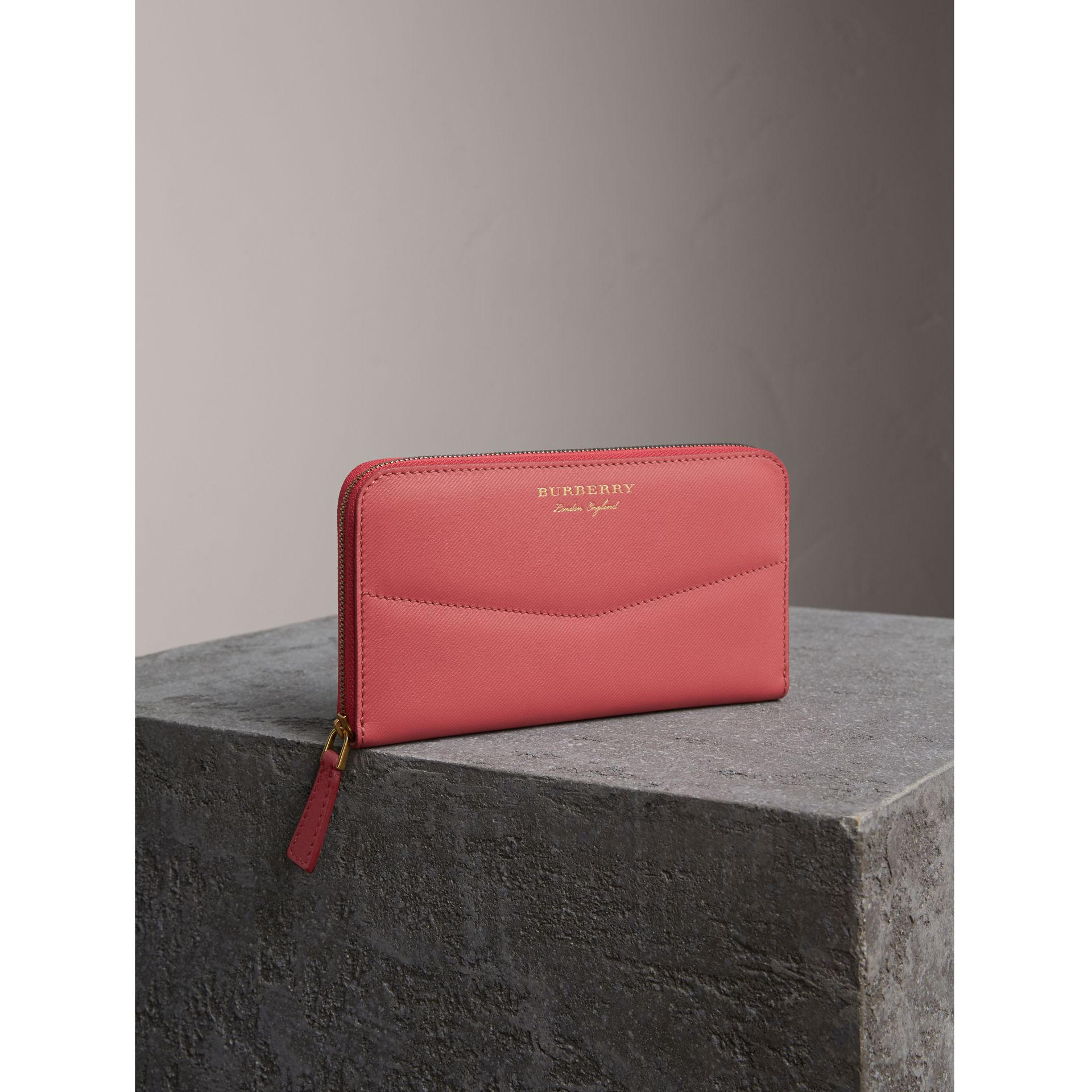 Two-tone Trench Leather Ziparound Wallet in Blossom Pink - gallery image 1