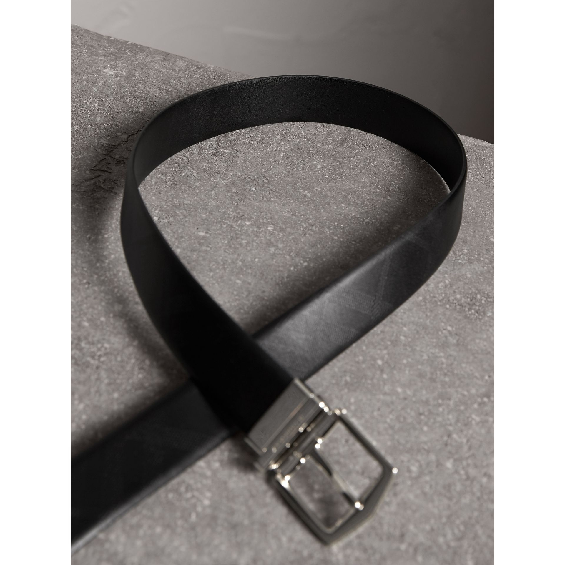 Reversible Embossed Check Leather Belt in Black - Men | Burberry Australia - gallery image 4