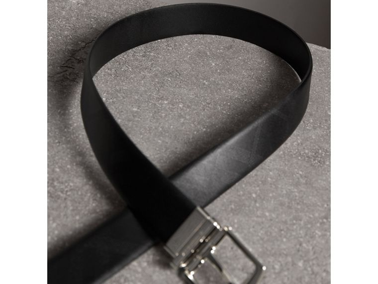 Reversible Embossed Check Leather Belt in Black - Men | Burberry Australia - cell image 4