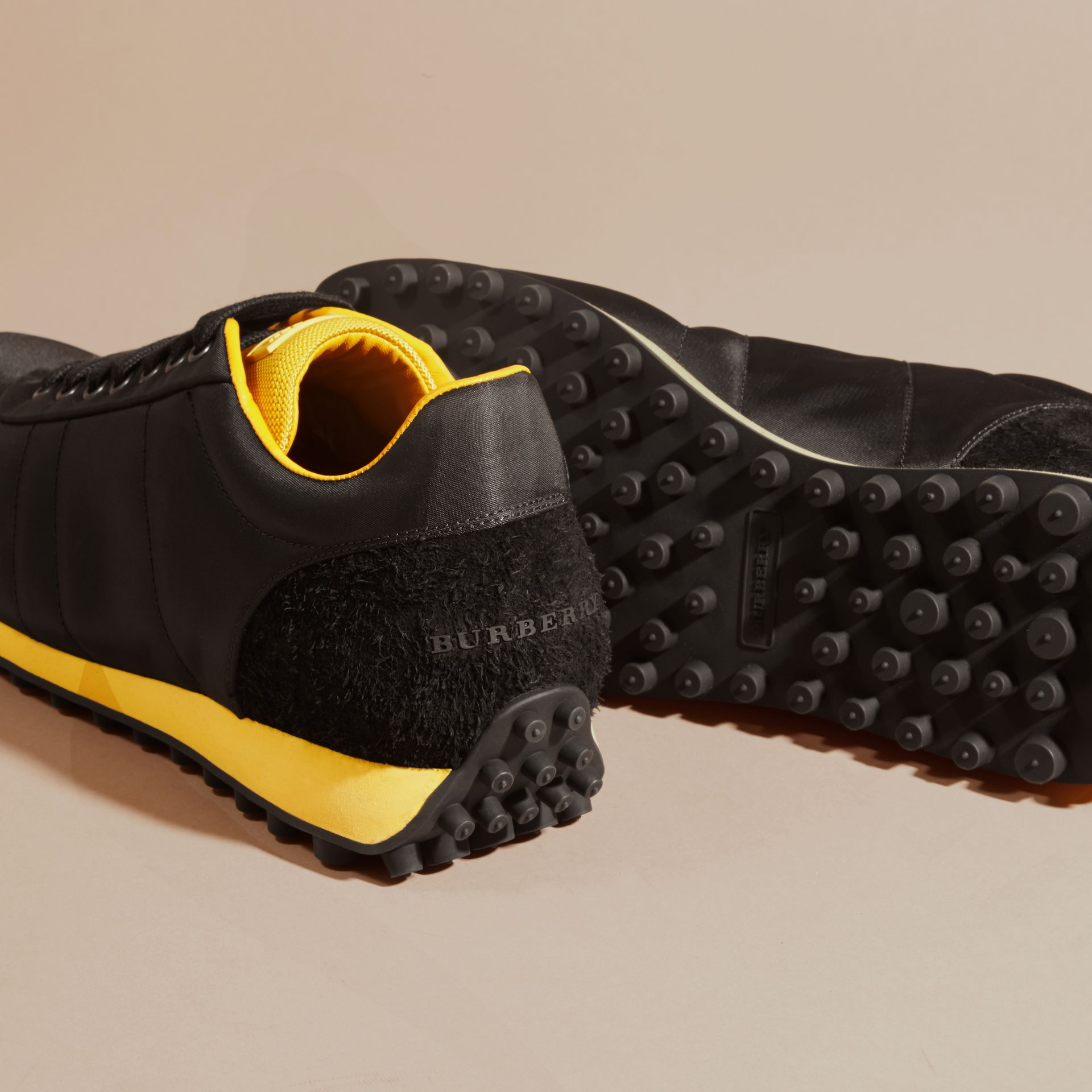 Black/burnt yellow Textural Trim Technical Sneakers Black/burnt Yellow - gallery image 5