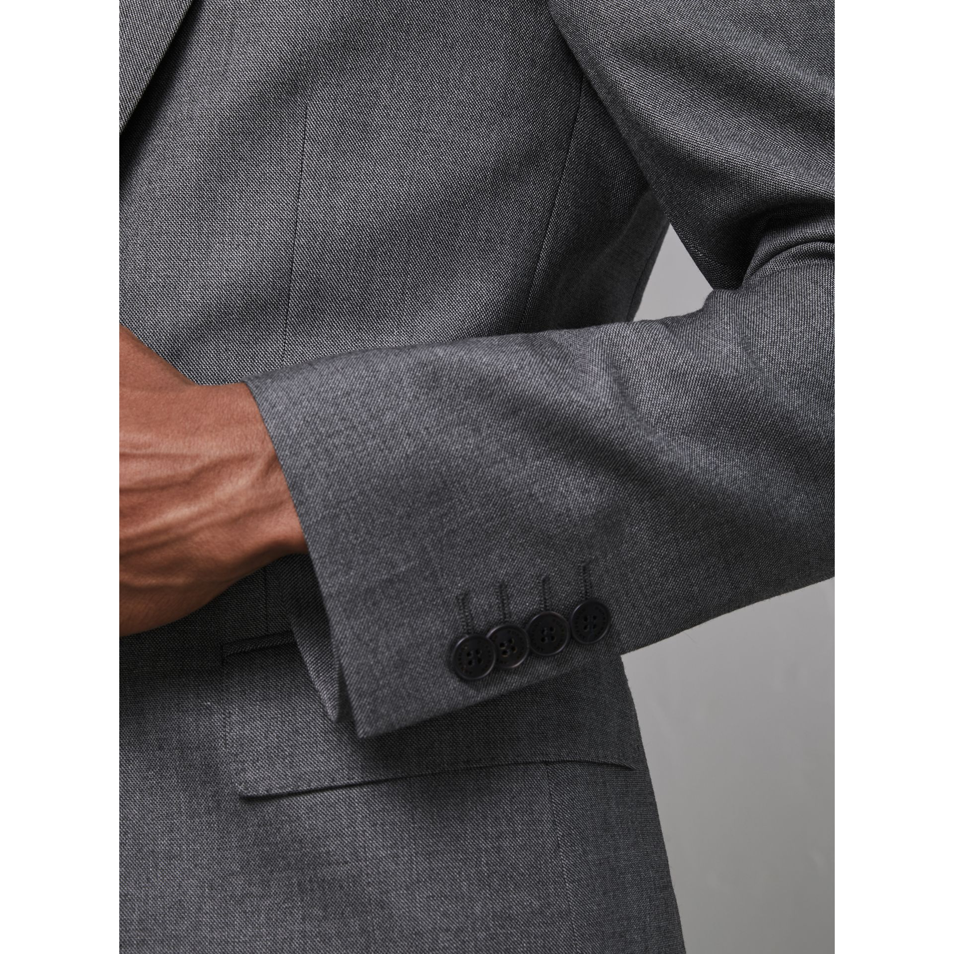 Modern Fit Sharkskin Wool Suit in Mid Grey Melange - Men | Burberry - gallery image 4