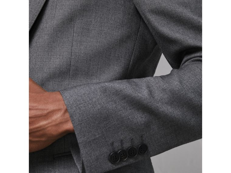 Modern Fit Sharkskin Wool Suit in Mid Grey Melange - Men | Burberry - cell image 4