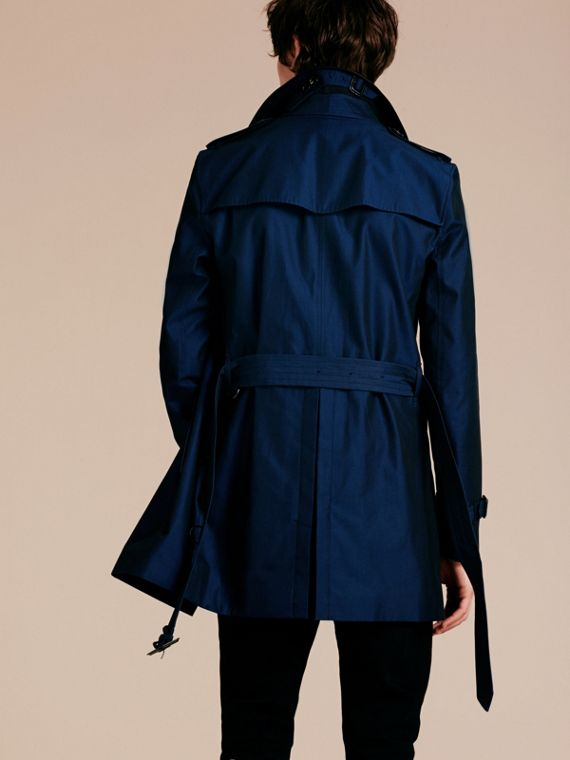Bright regency blue Cotton Gabardine Trench Coat with Lambskin Topcollar - cell image 2
