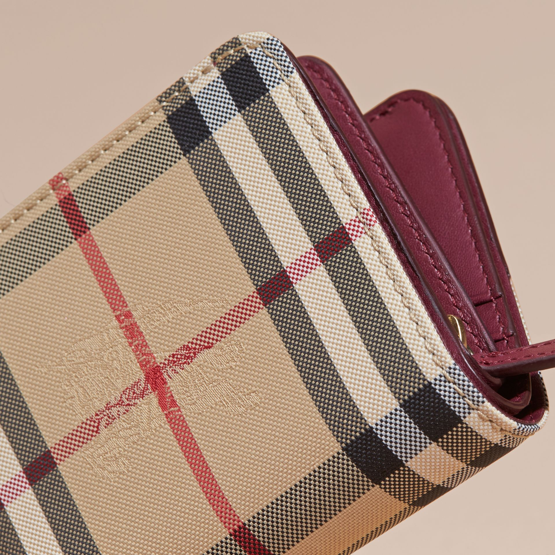 Dark plum Horseferry Check and Leather Wallet Dark Plum - gallery image 2