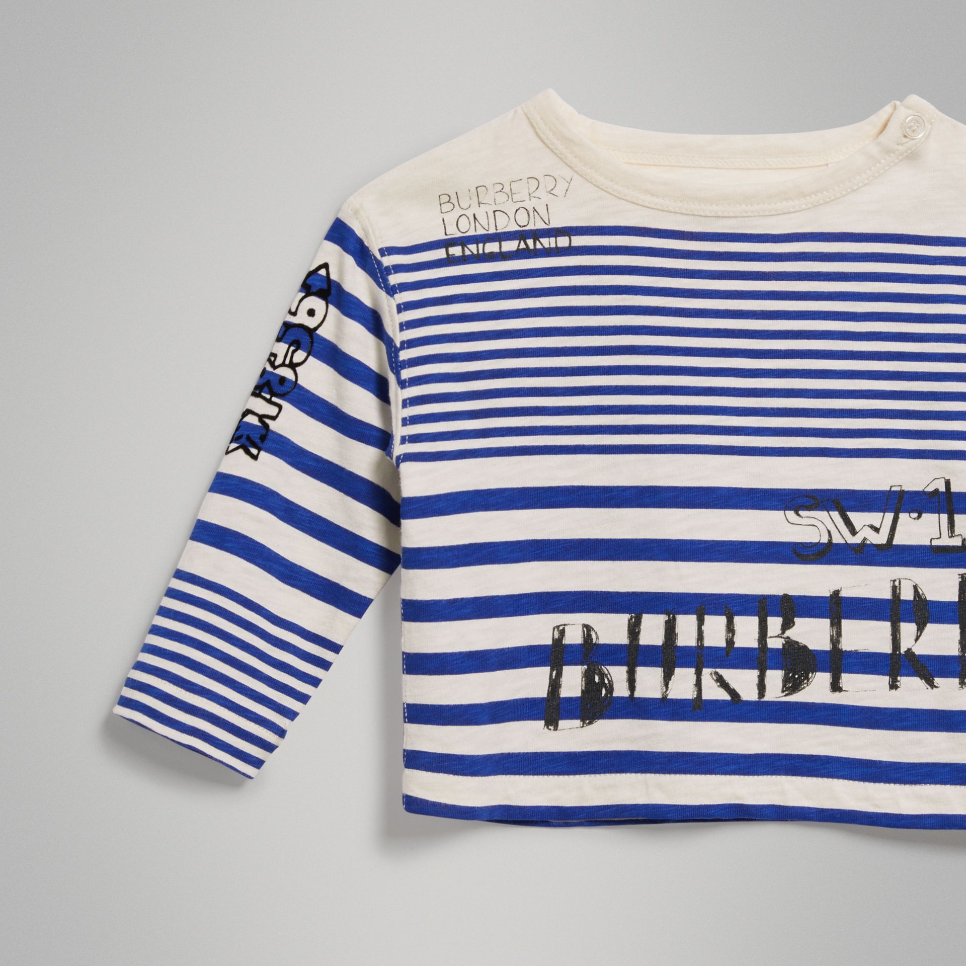 Long-sleeve SW1 Print Cotton Top in Bright Lapis/natural White - Children | Burberry - gallery image 4