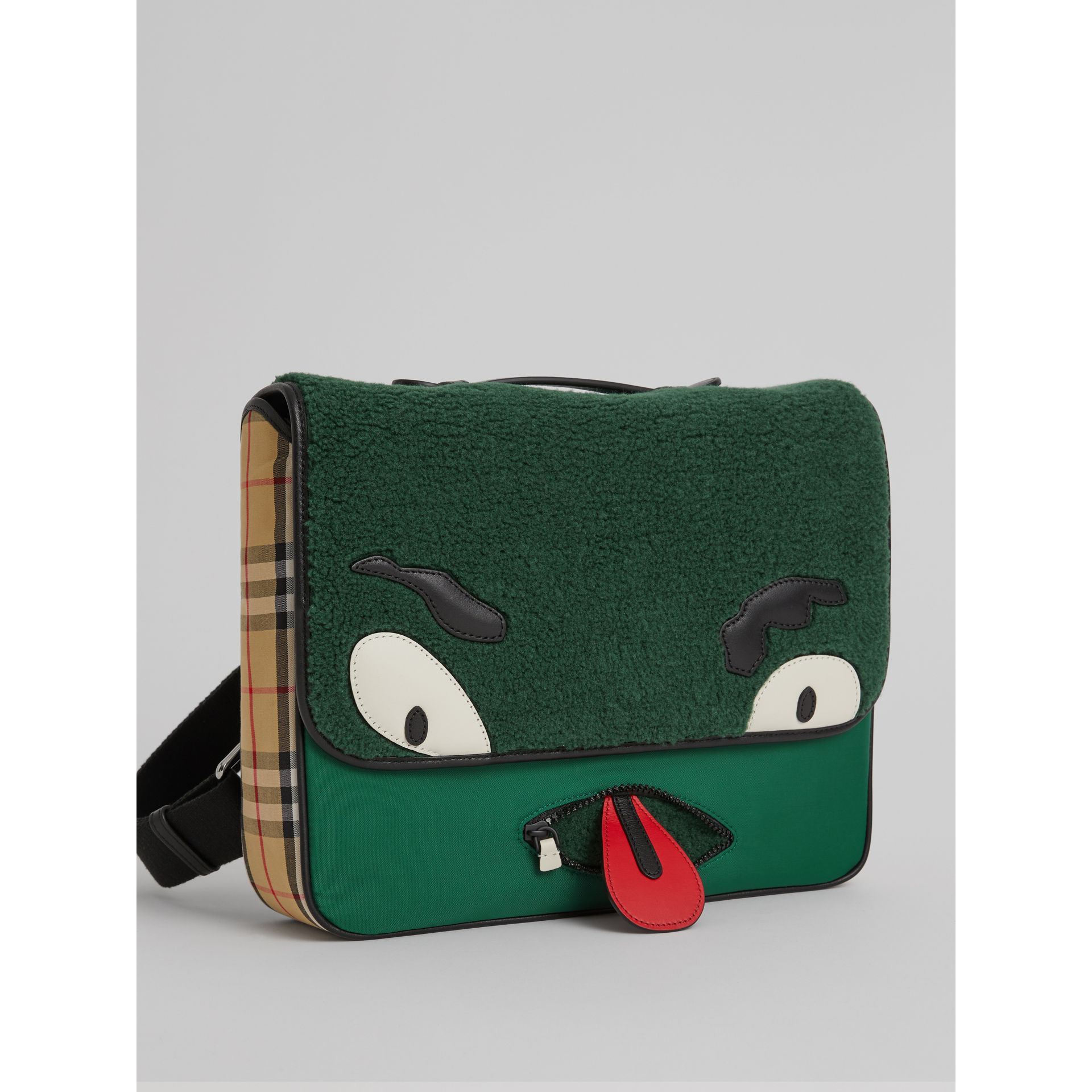 Monster Faux Shearling and Vintage Check Satchel in Pine Green | Burberry United Kingdom - gallery image 4