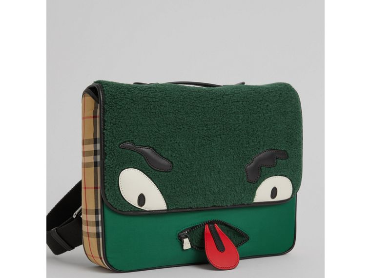 Monster Faux Shearling and Vintage Check Satchel in Pine Green | Burberry - cell image 4