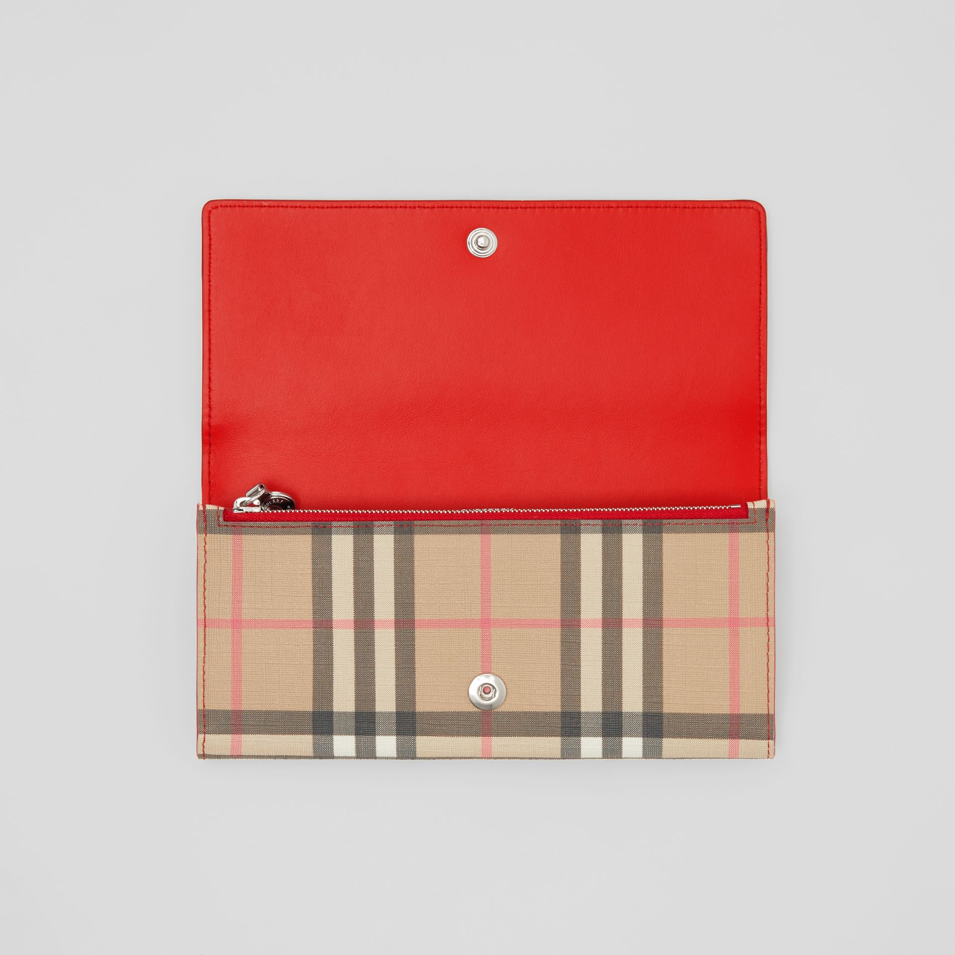 Vintage Check E-canvas and Leather Continental Wallet in Bright Military Red - Women | Burberry Australia - gallery image 4