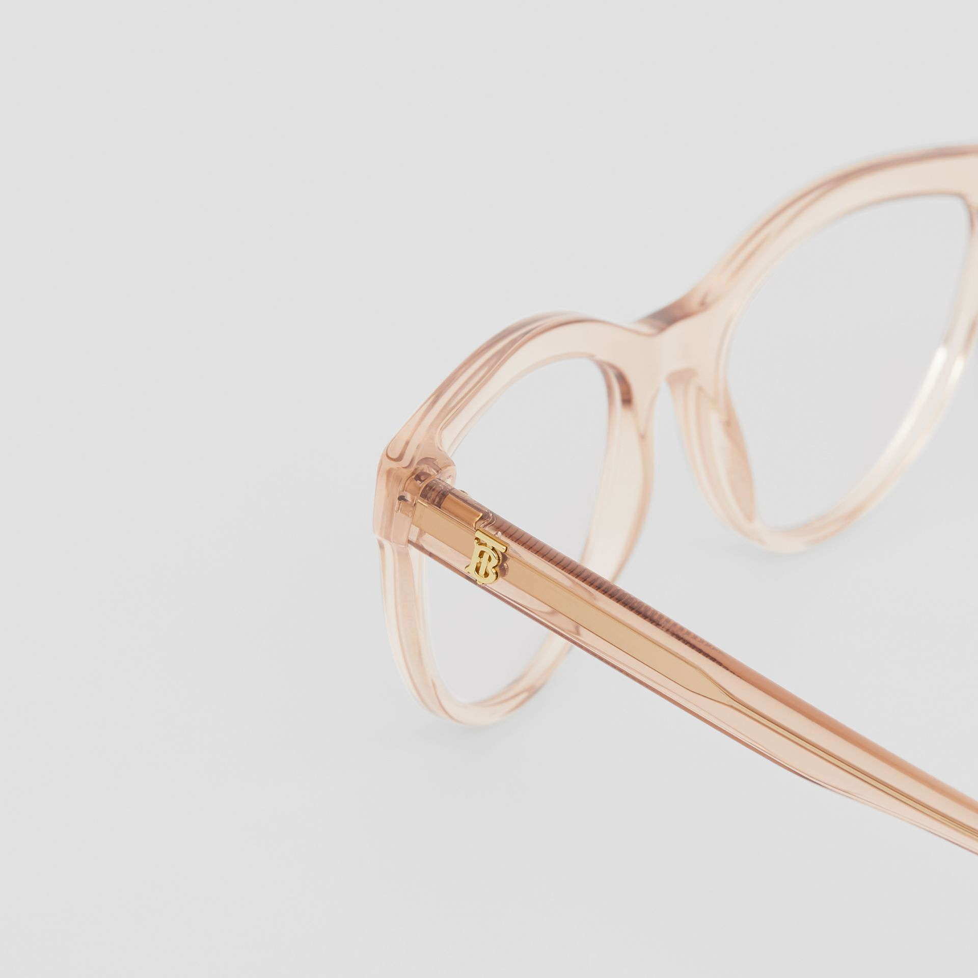 Monogram Motif Cat-eye Optical Frames in Transparent Peach - Women | Burberry United States - gallery image 1