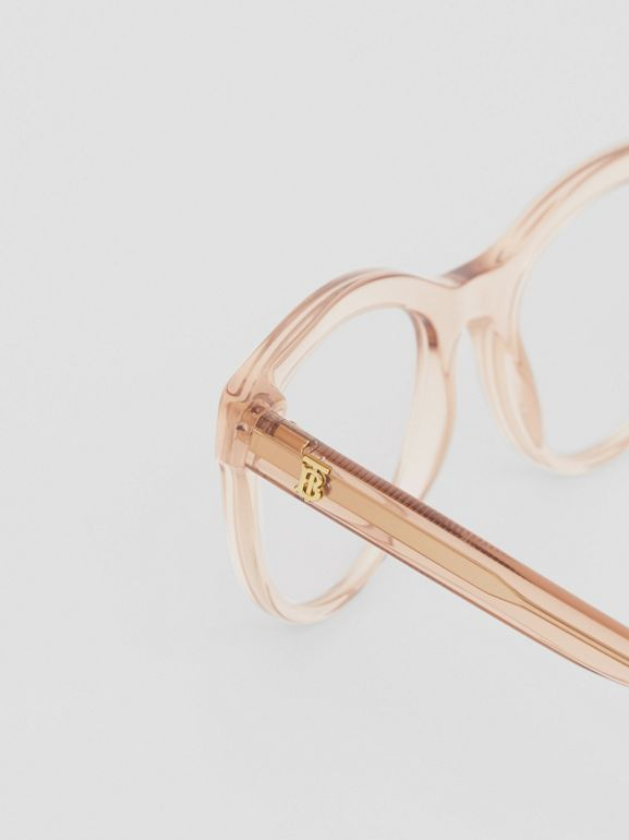 Monogram Motif Cat-eye Optical Frames in Transparent Peach - Women | Burberry United States - cell image 1