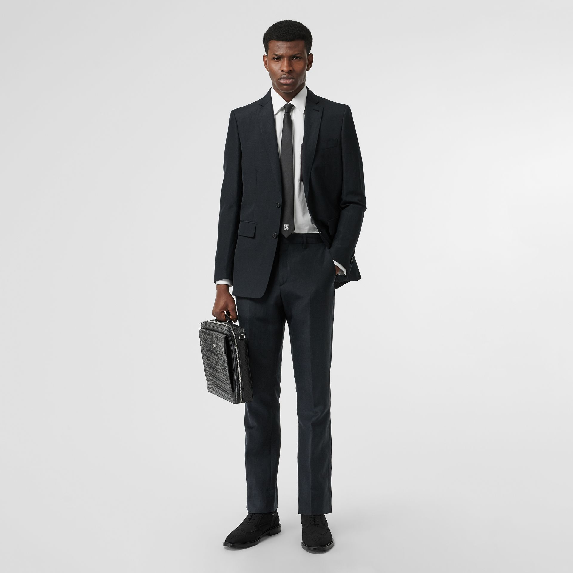 Classic Fit Mohair Linen Silk Tailored Trousers in Navy - Men | Burberry - gallery image 0