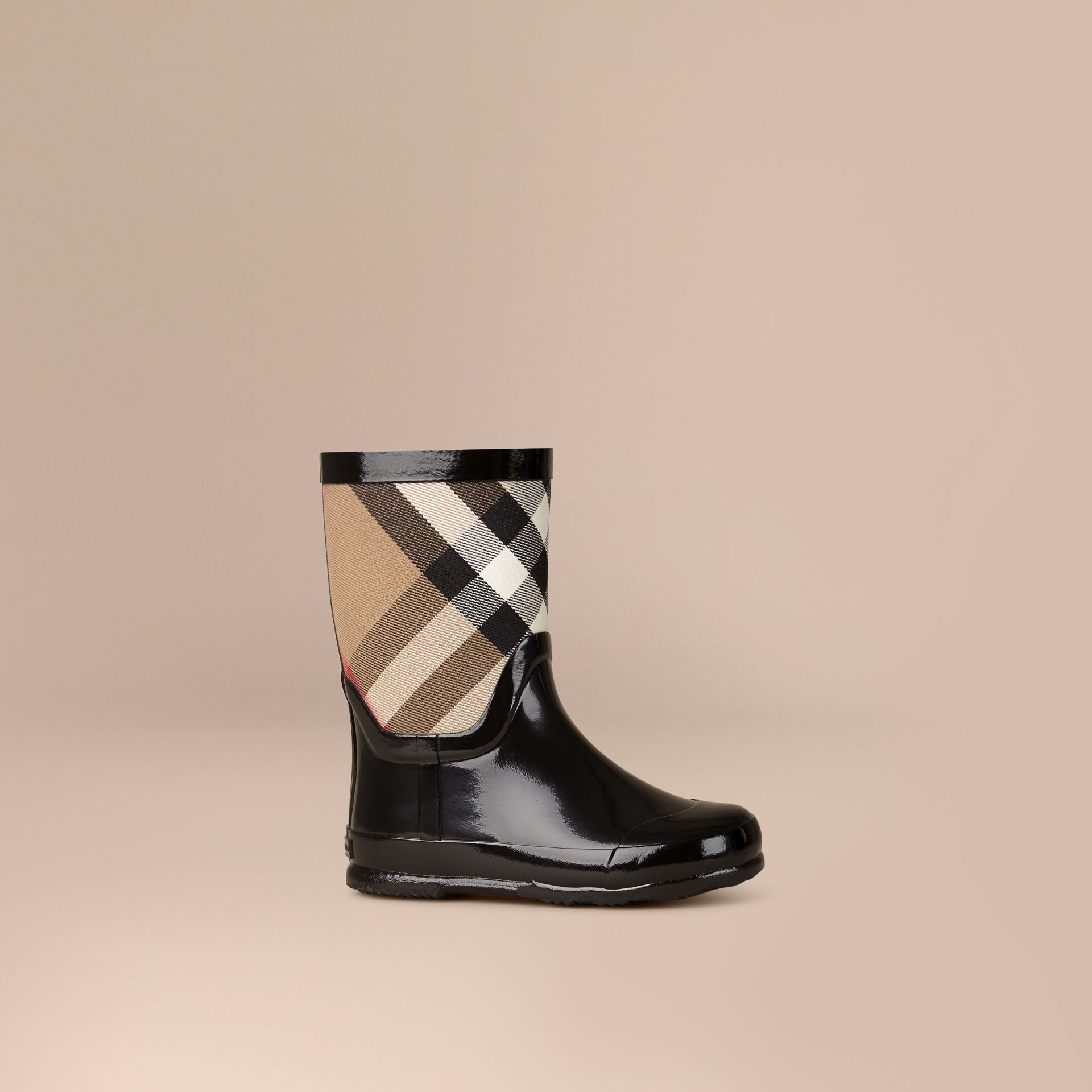 House Check Panel Rain Boots in Black | Burberry Canada - gallery image 1