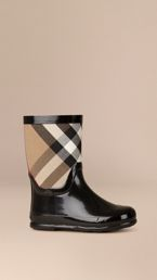 House Check Panel Rain Boots