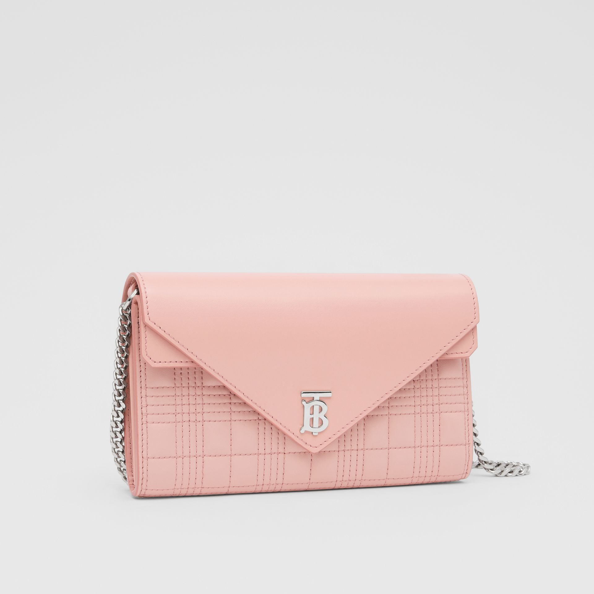 Quilted Lambskin Wallet with Detachable Chain Strap in Blush Pink - Women | Burberry - gallery image 6