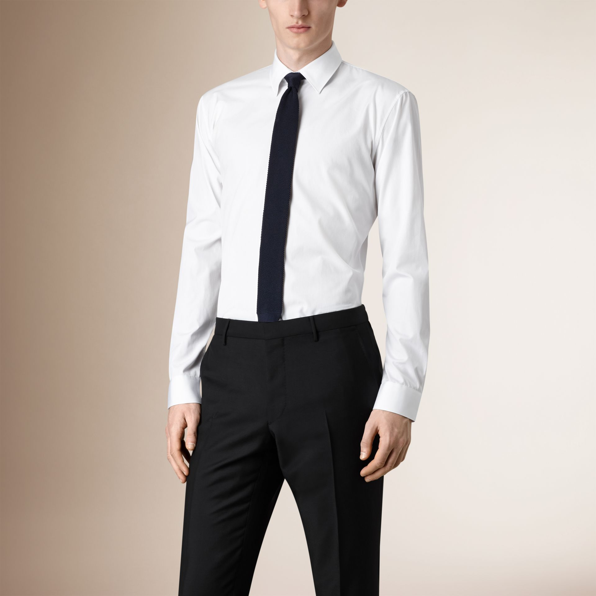 Modern Fit Cotton Poplin Shirt in White - Men | Burberry United States - gallery image 0